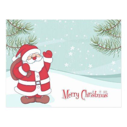 Cute Christmas Cartoon Postcard - christmas cards merry xmas family