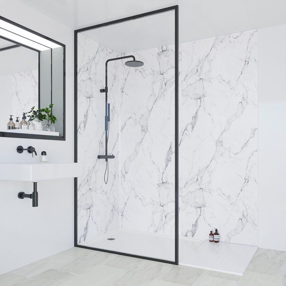 Calacatta Marble Bathroom Layjao In 2020 Bathroom Wall Panels Marble Shower Walls Shower Wall Panels