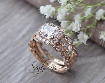 Set of 2:Cushion Halo Engagement Ring & Art Deco Band in 14k Rose Gold,Cushion Moissanite Bridal Set,White Sapphire Bridal Set by Sapheena