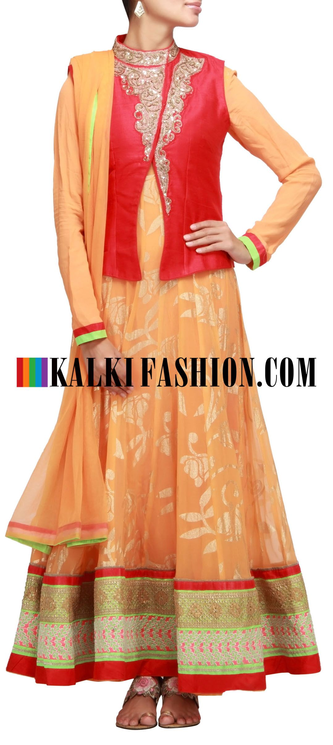 Buy Online from the link below. We ship worldwide (Free Shipping over US$100) http://www.kalkifashion.com/anarkali-suit-in-orange-with-foil-print-and-gotta-patti-lace.html Anarkali suit in orange with foil print and gotta patti lace