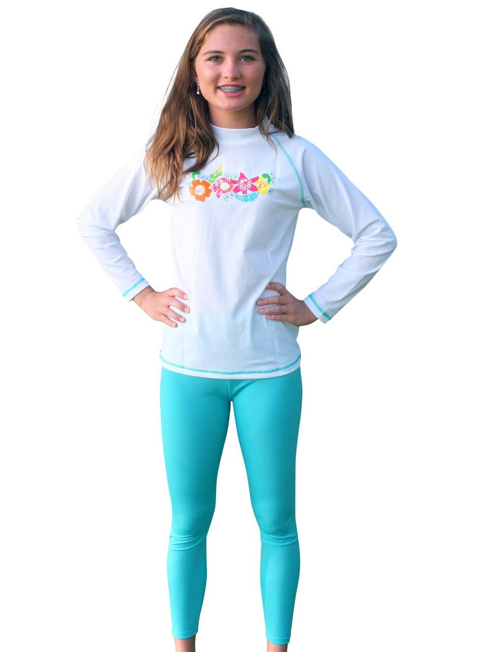 ac51064f Solartex Sun Gear - Girls Long Sleeve Rash Guard and Swim Pants-size 14,