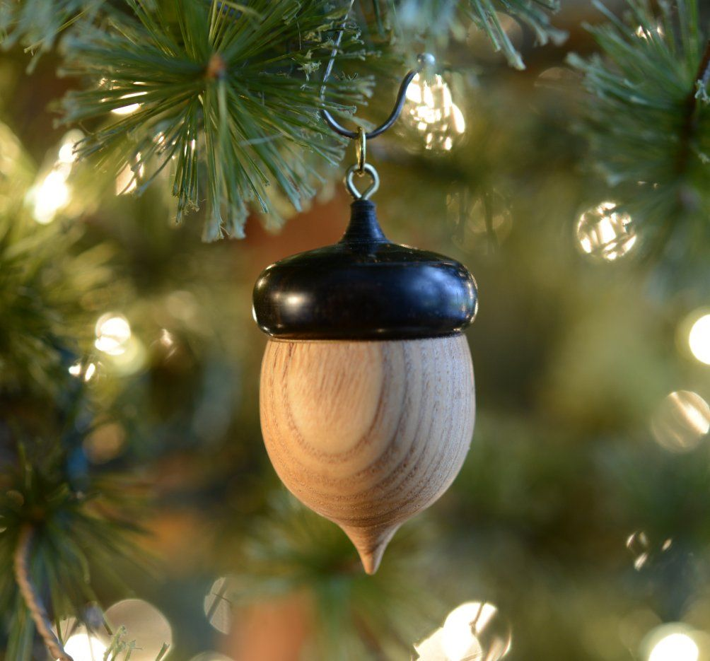 A Wood Turned Christmas Wooden Ornament Top Of Acorn Comes Off So Something Special But Small C Wooden Ornaments Wooden Christmas Ornaments Christmas Wood