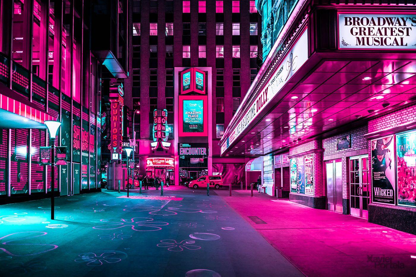 New York Under The Lens Of Xavier Portela Neon Photography Aesthetic Desktop Wallpaper Neon Backgrounds