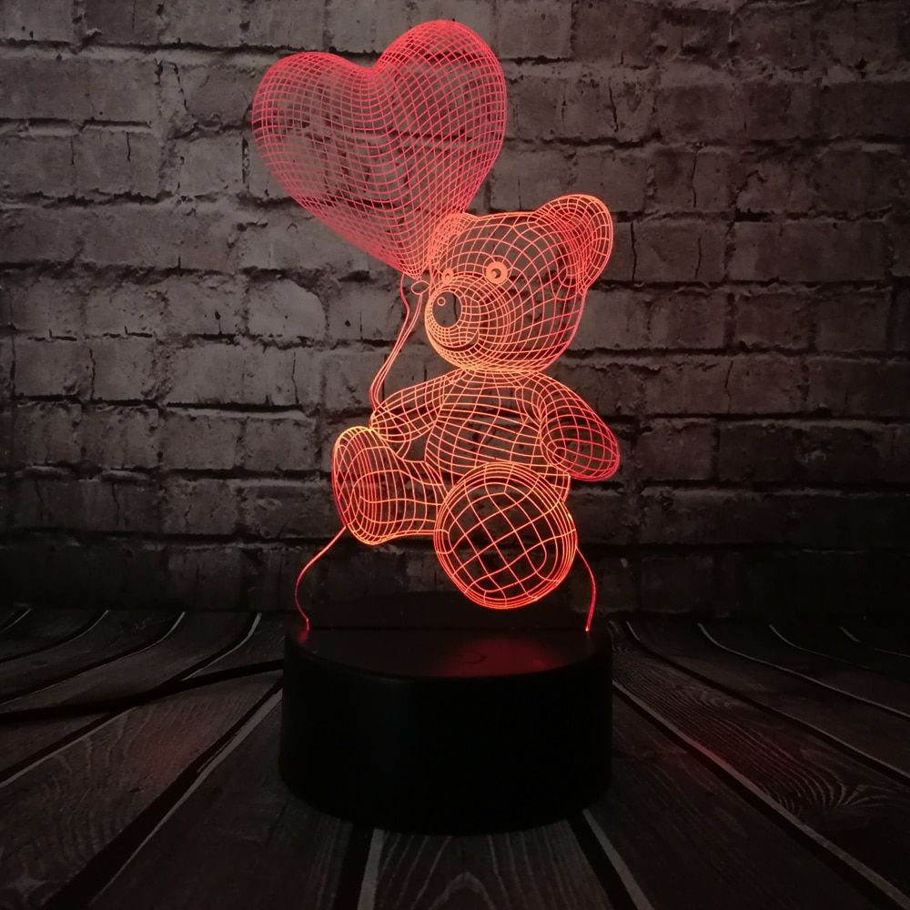 Baby Teddy Bear Love Heart Balloon 3d Usb Led Lamp Festa