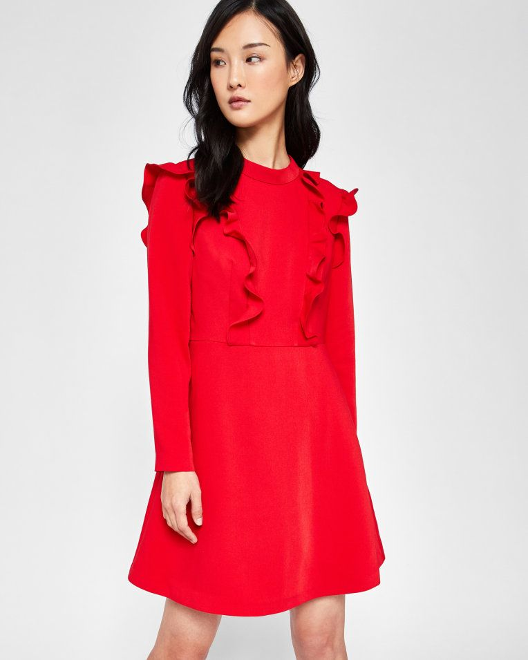 Long sleeve frill tunic dress - Mid Red  58cf72f3b