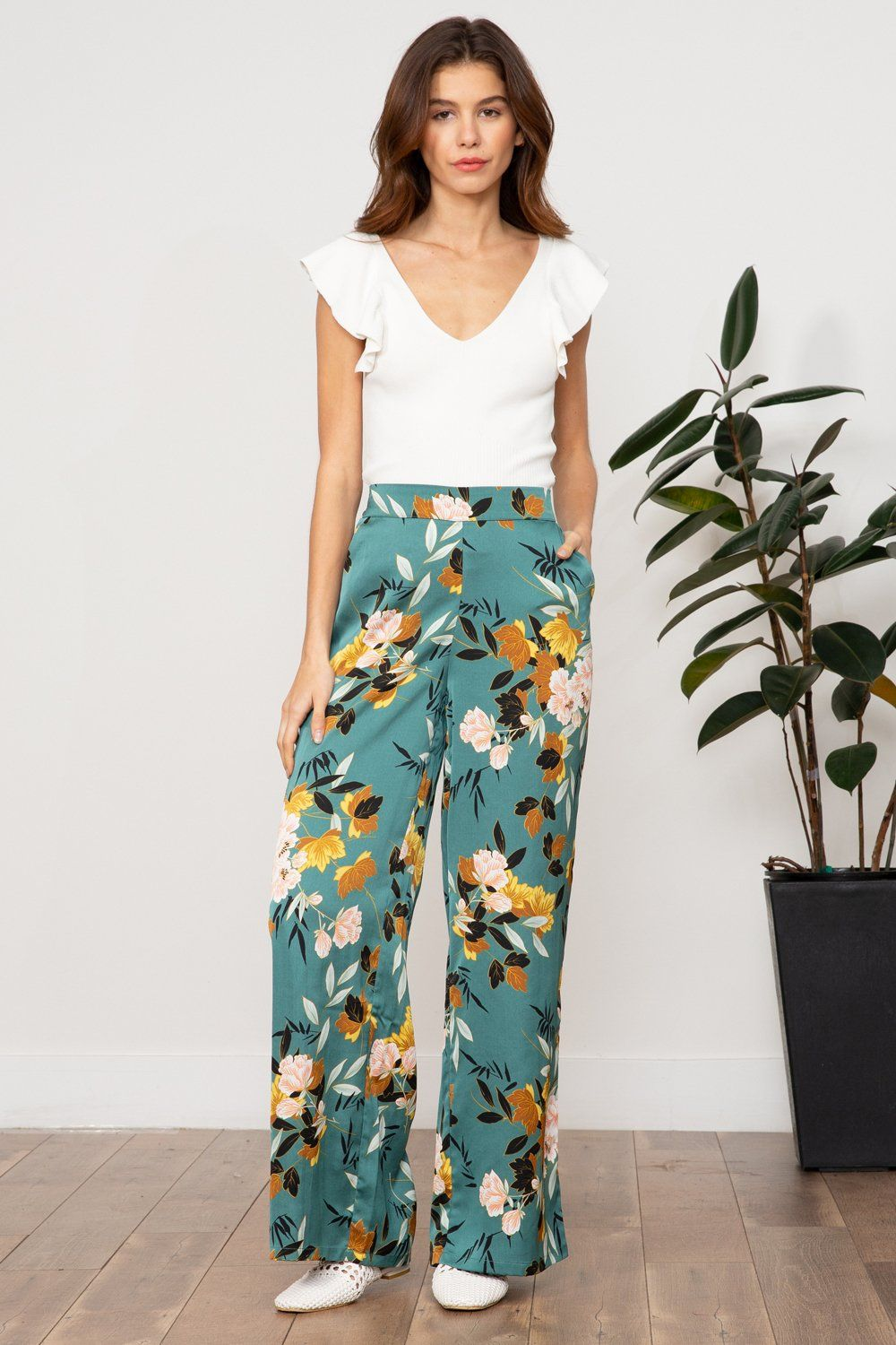 73406209267 Lucy Paris - Celine Contrast Pant  flowers  floral  teal  green  spring