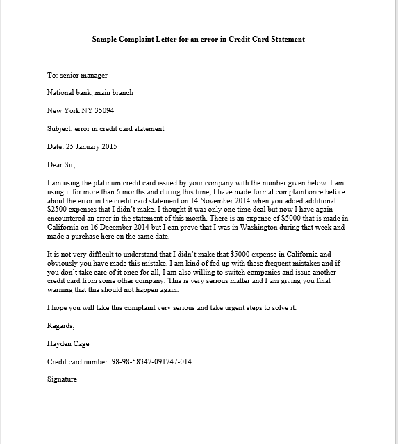 This Sample Complaint Letter For Error Credit Card Statement Cover