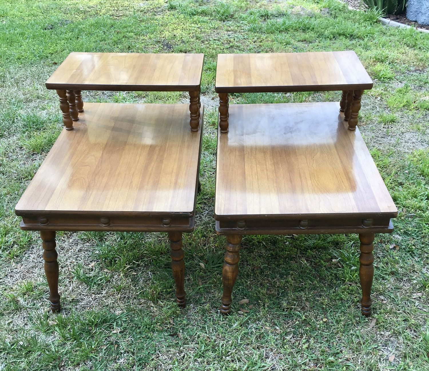 Two Tier Table, Mid-Century Modern, Wood frame, Formica ...