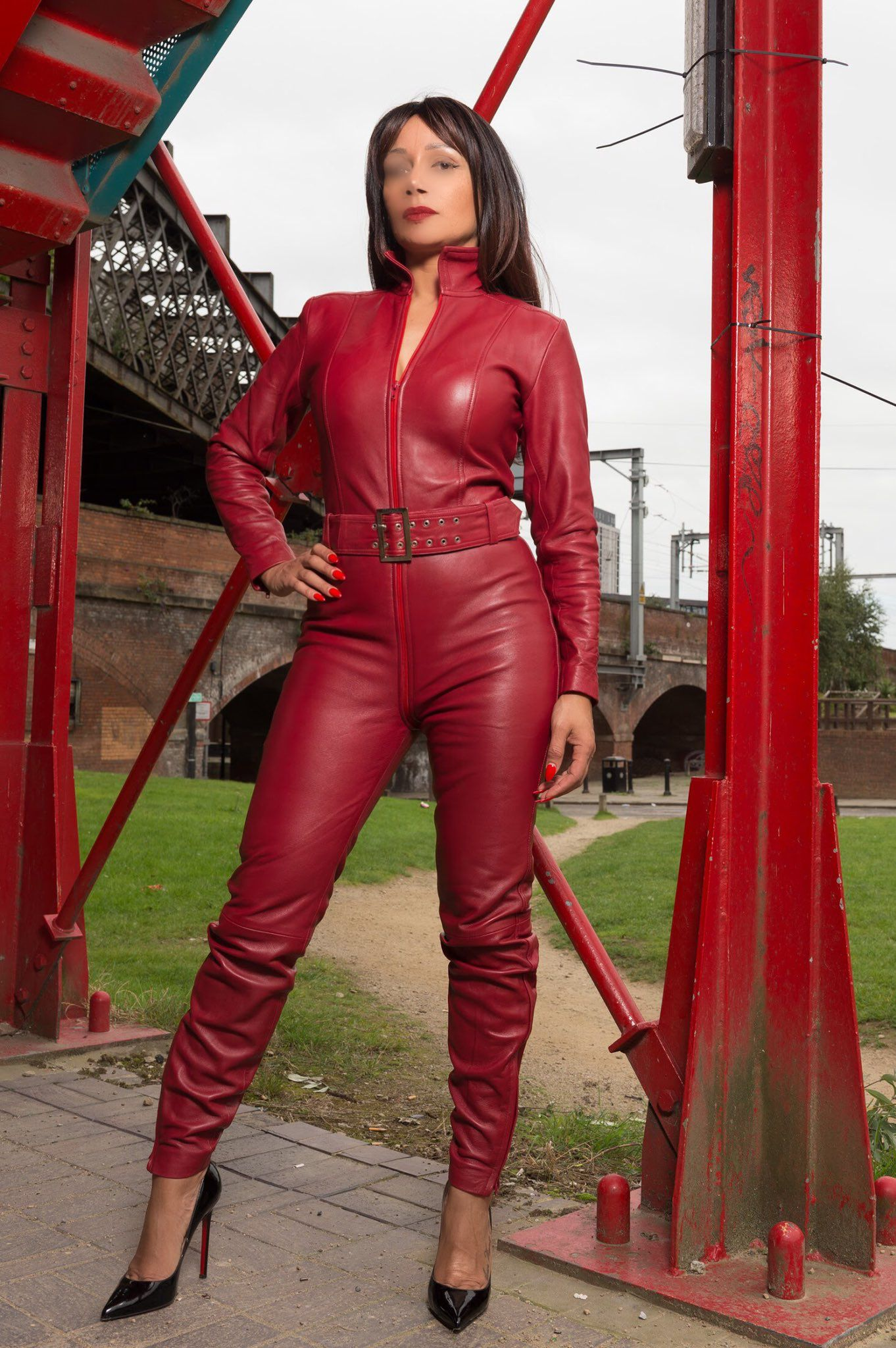 red latex suit