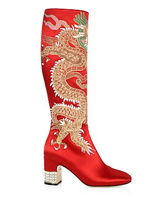 6947ea91074 Gucci Candy Dragon-Embroidered Satin Tall Boots
