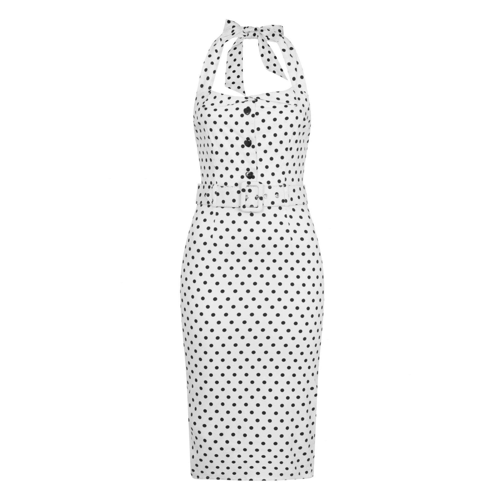 Vintage White Black Polka Dot Halter Neck Wiggle Pencil Dress ...