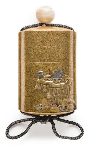 A four-case lacquer inro By Kanshosai, Edo period (19th century)