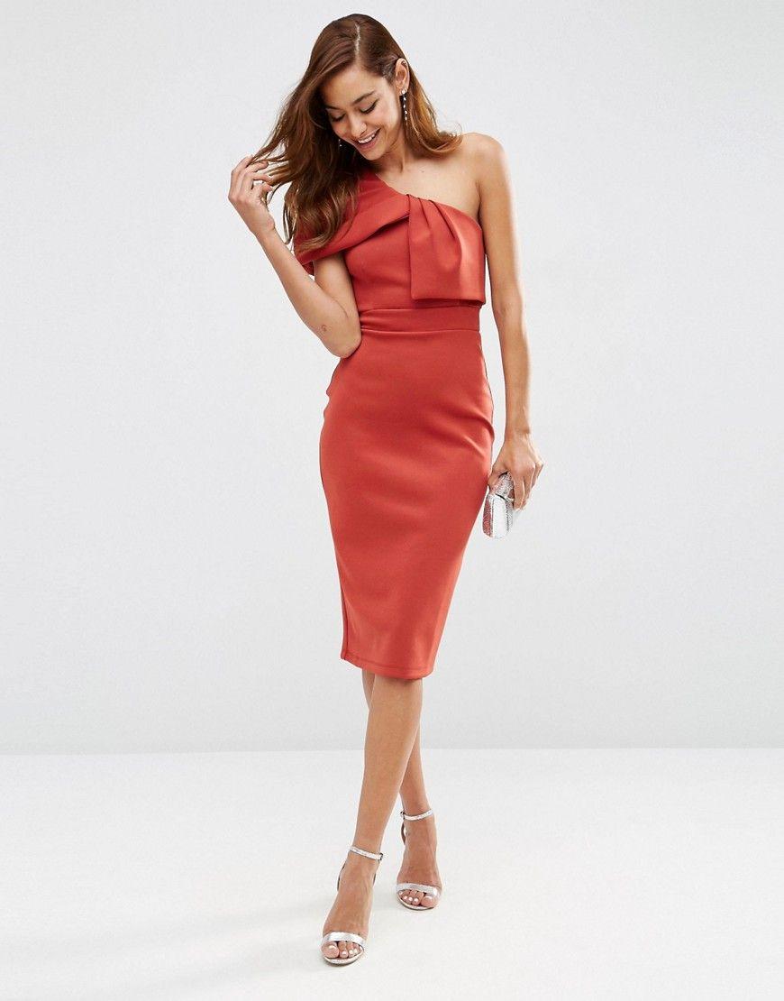 Great ASOS One Shoulder Fold Midi Scuba Dress