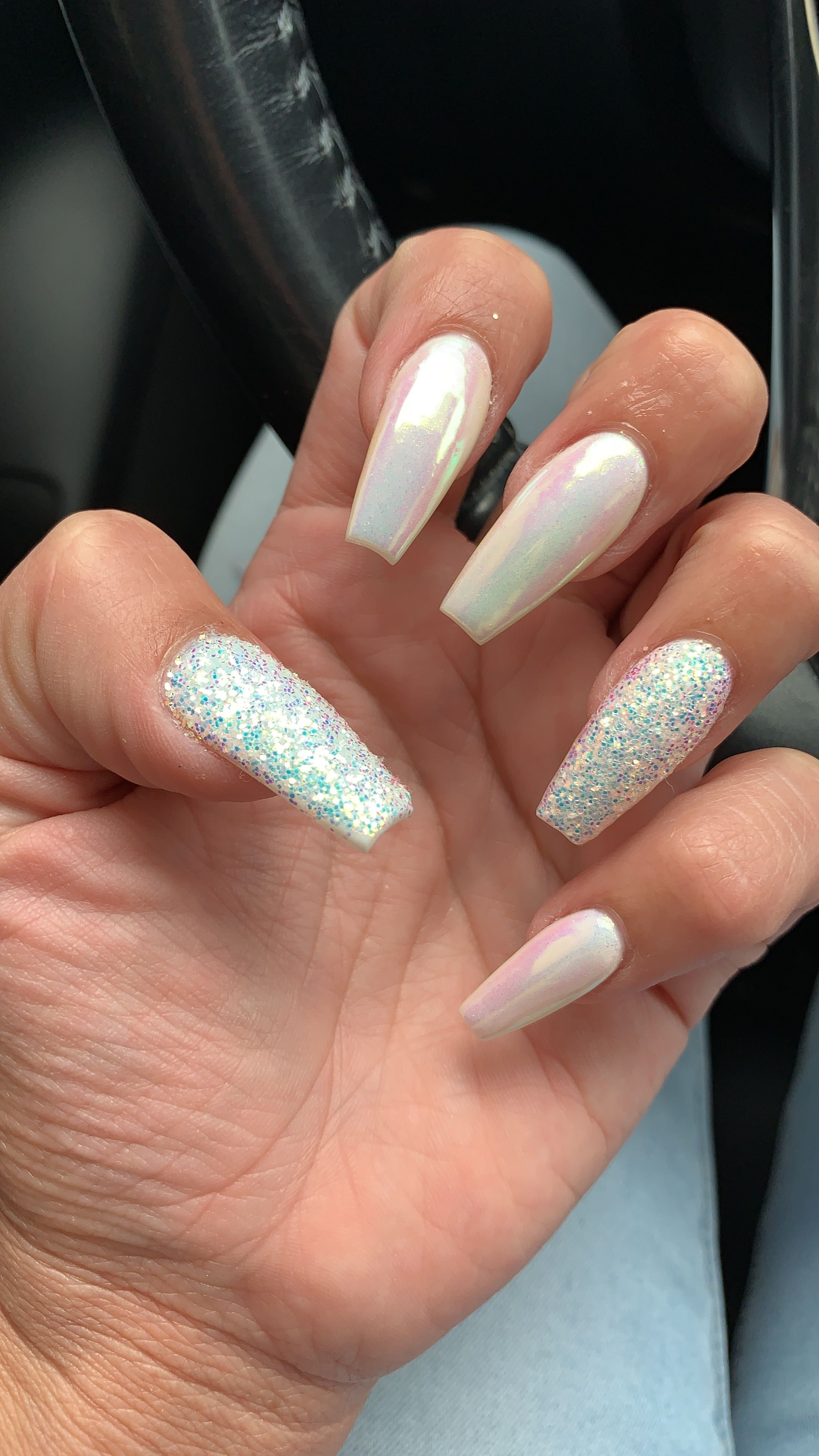 Pearly White Shellac White Gel With Chrome Top Manicure Nail Designs White Chrome Nails Gel Nails