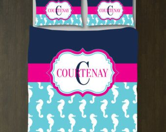 Preppy Seahorse Bedding Set w/Monogrammed Name and Initial-Custom Duvet Cover-Shams-Navy Blue-Aqua-Hot Pink-White-Twin XL-Full/Queen-King
