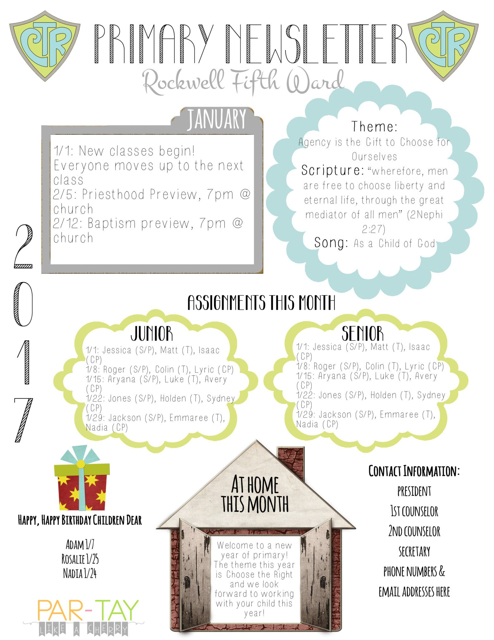 free 2017 primary newsletter template lds primary pinterest