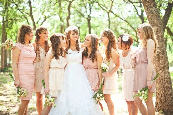 Different dresses, but similar color is a very intriguing idea for bridesmaid's dresses