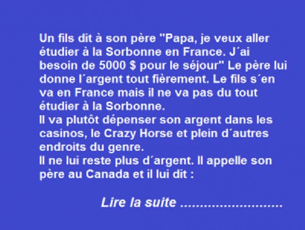 Un Canadien envoi son fils pour étudier à la Sorbonne !!!