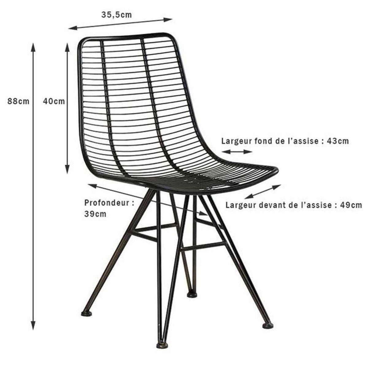 Chaise En Métal Noir Filaire Style Contemporain Vulcan