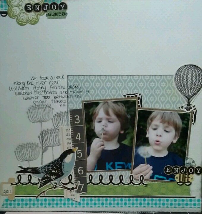 Double photo layout with stamping