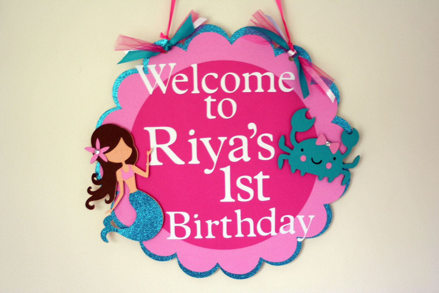 Glittery Mermaid Door Sign Birthday Wall Decor Birthday wall Door