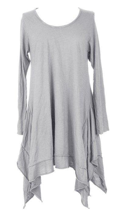 fc63df6c108 Ladies Womens Italian Lagenlook Quirky Long Sleeves Plain Asymmetric Hem  Tunic Top Blouse One Size UK 8-14 (One Size, Light Grey)