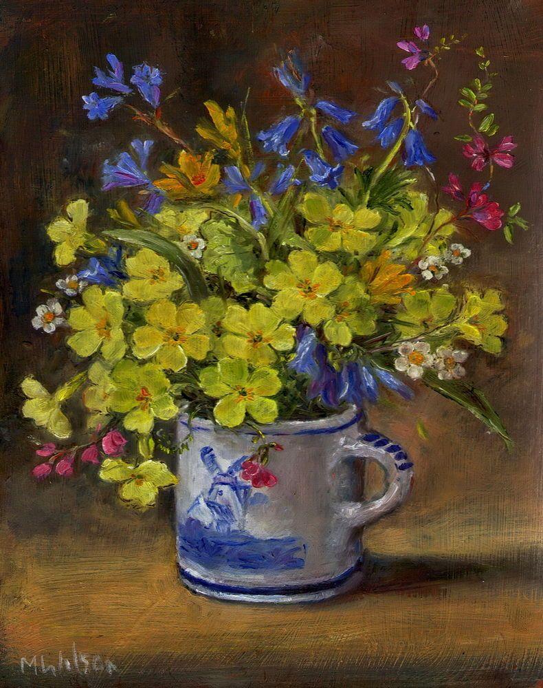 Oil Painting Marjorie Wilson Floral Still Life Woodland Spring