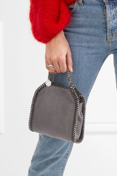 34108611d0 Stella McCartney - The Falabella Tiny Faux Brushed-leather Shoulder Bag -  Dark gray