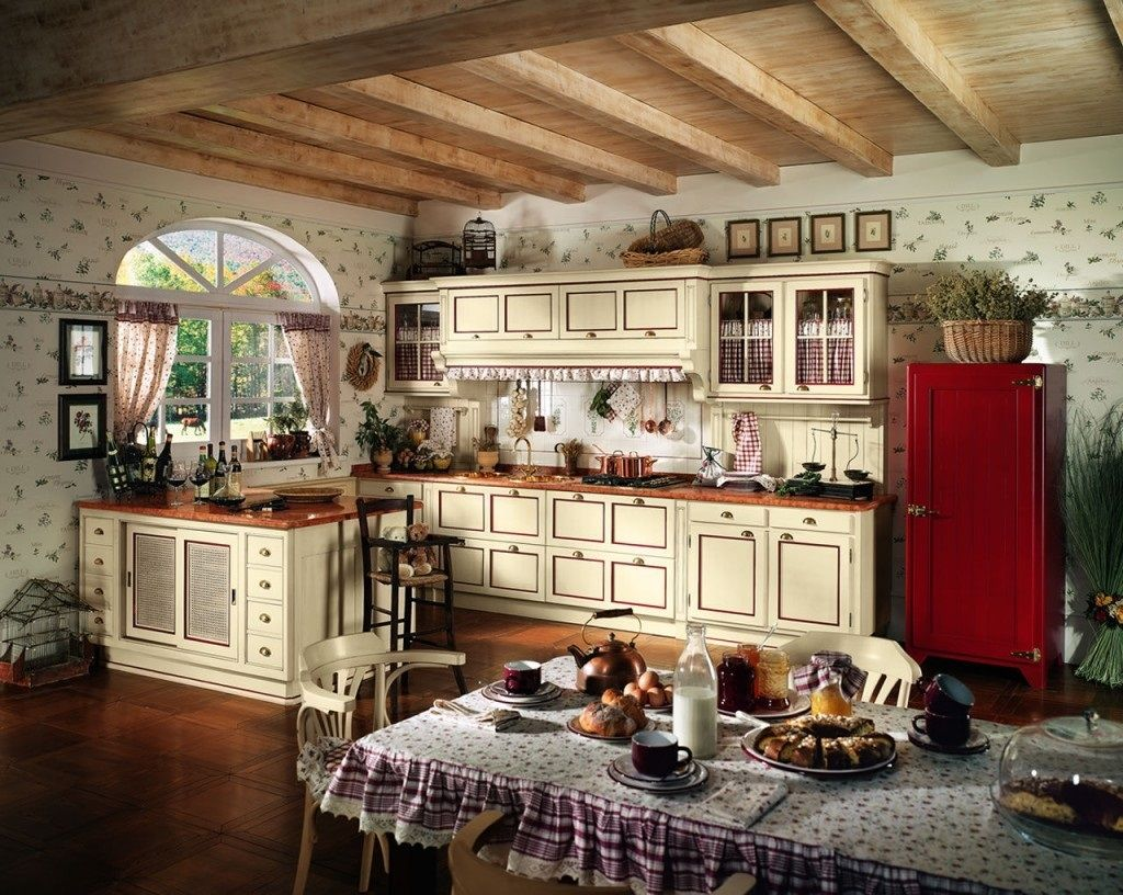Enchanting Rustic Italian Kitchen Combined With Painted White Wood Cabinets And Nice Wallpaper Decor Mexican Kitchen Decor Kitchen Decor Italian Style Kitchens