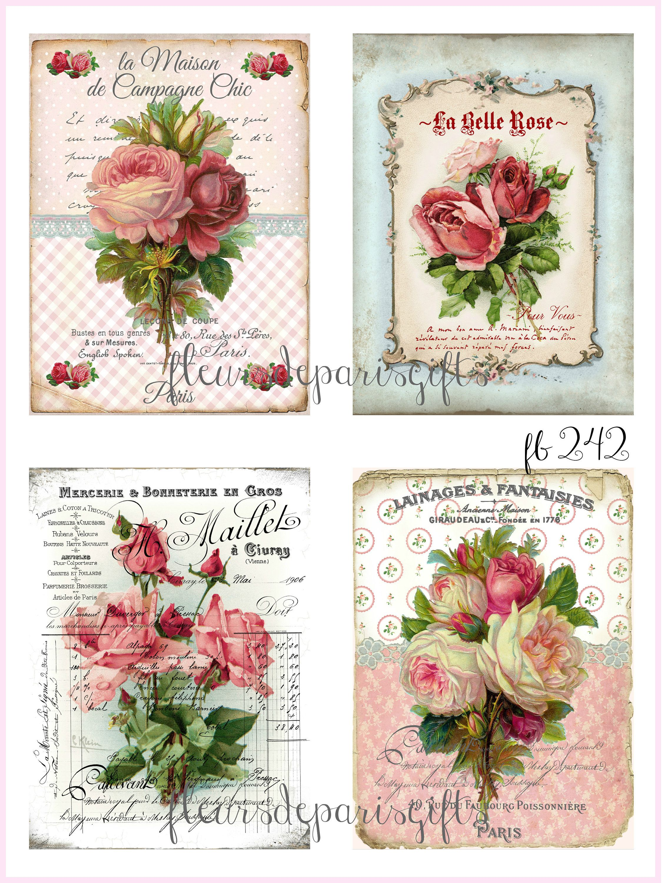 Photo of Shabby Chic Vintage French Paris Roses 4 Prints on Fabric great for Quilting Sewing Crafting projects FB 242