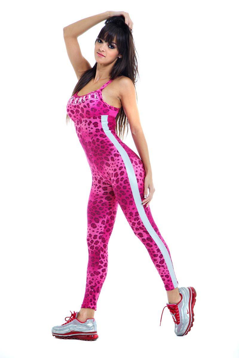 Pink Leopard - fitness jumpsuit