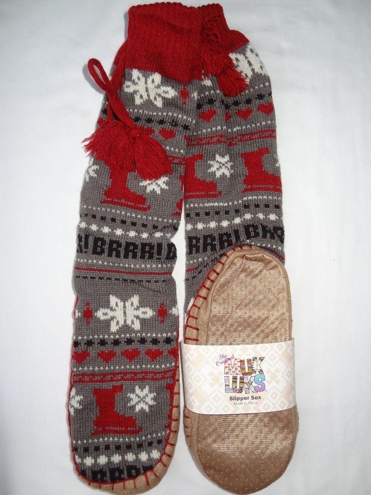 NEW MUK LUKS Womens Tall Nordic Knit Sweater Slipper Socks Gray ...