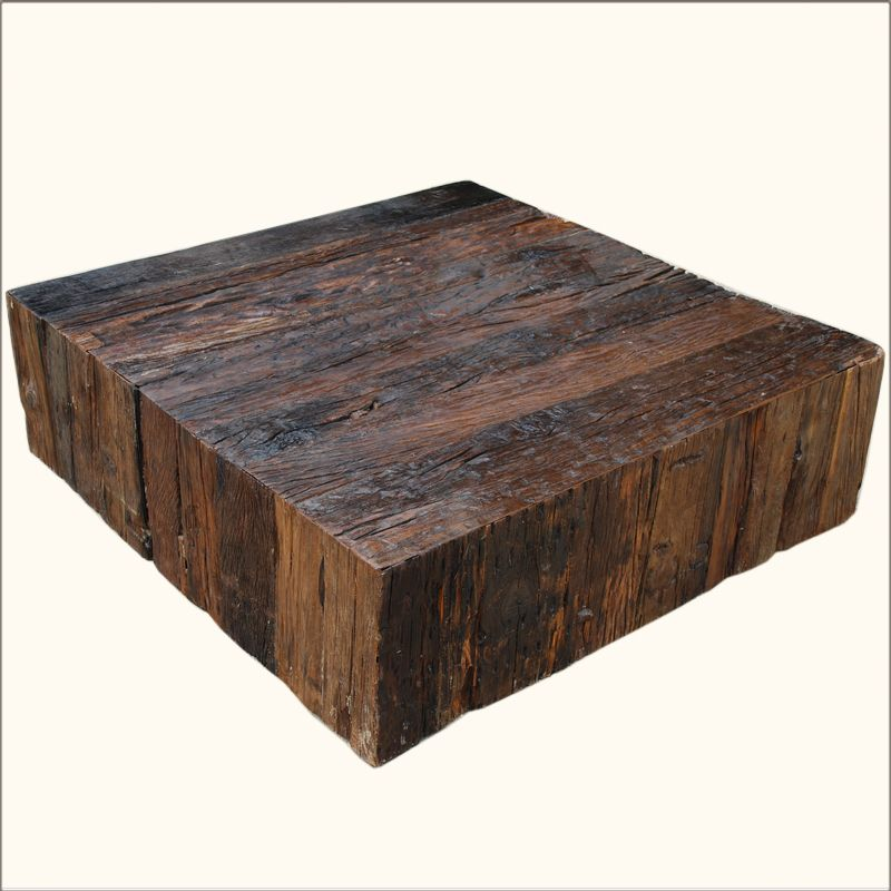 Used Solid Wood Coffee Table: Our Appalachian Rustic Railroad Ties Square Box Style