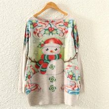 2015 New Women Autumn Winter Sweaters Lovely Snow Man Printed Christmas Sweater Knitted Batwing Sleeve Pullovers Jersey Mujer(China (Mainland))