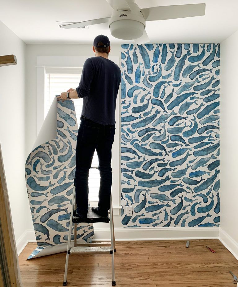 How To Install A Removable Wallpaper Mural Young House Love Removable Wall Murals Accent Wall Bedroom Removable Wallpaper