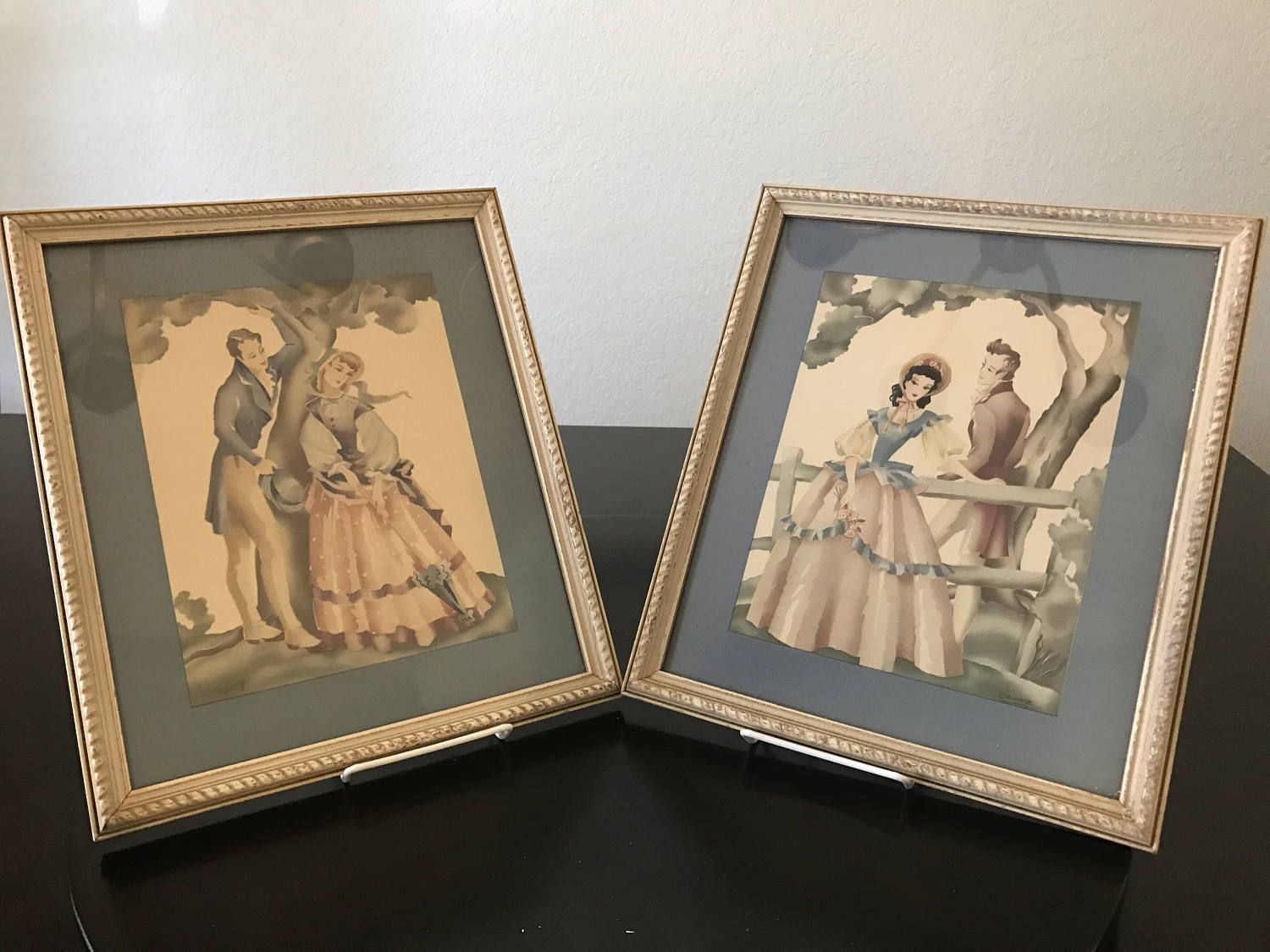 Vintage Courting Couples Art Prints Pair by Crane/ Vintage Framed Victorian Couples Prints by BazemoreVault on Etsy