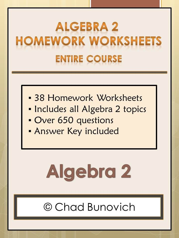 Algebra 2 Homework Worksheets Review Worksheets – Algebra 2 Review Worksheets