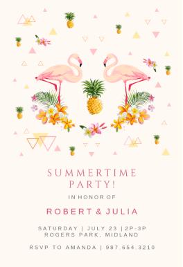 flamingo party printable invitation