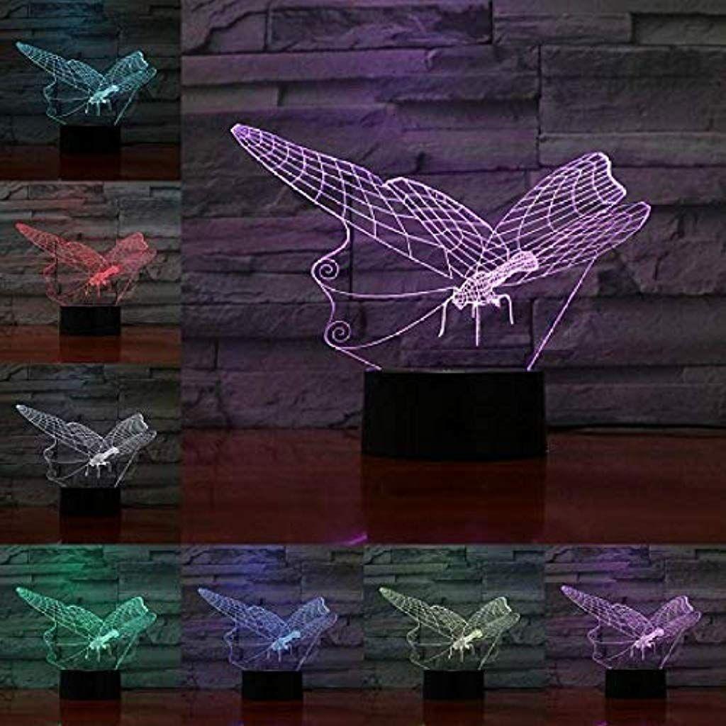 Mit Fernbedienung Schone Schmetterling 3d Lampe 7 Farben Die Nachtlicht Andern Erstaunliche Sichtbarmachung Optische Geschenke Fur Madchenliebhaber Tischdekor B
