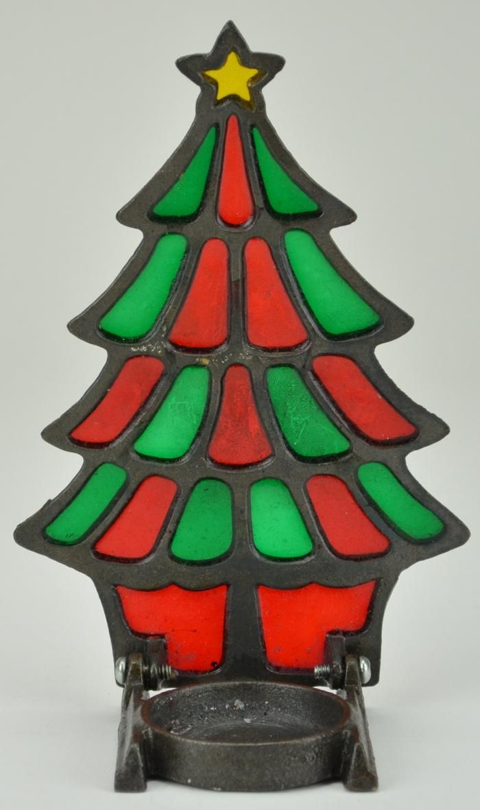 Vintage Cast Iron Stained Glass Christmas Tree Tealight Candle
