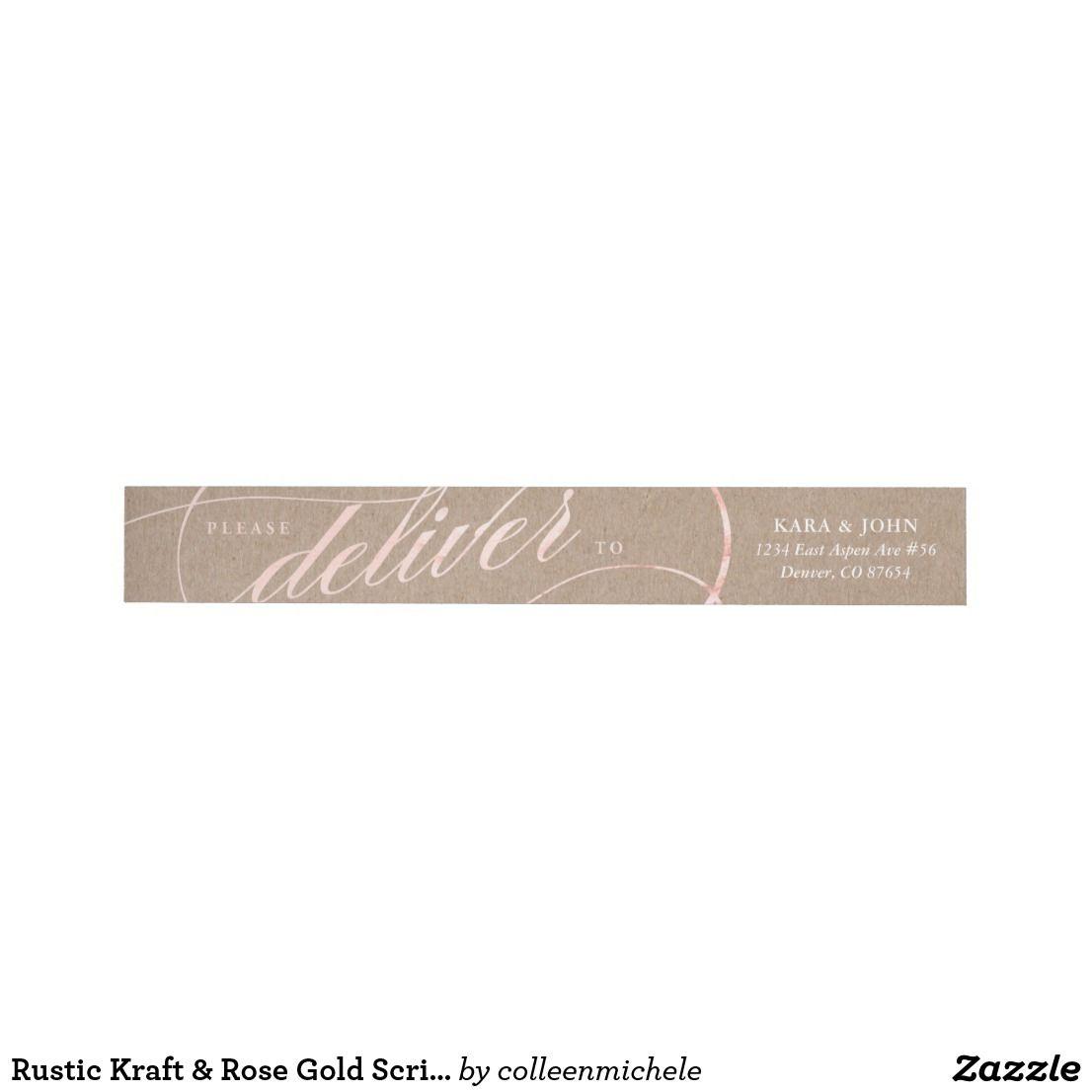Rustic Kraft Rose Gold Script Address Labels Return Address
