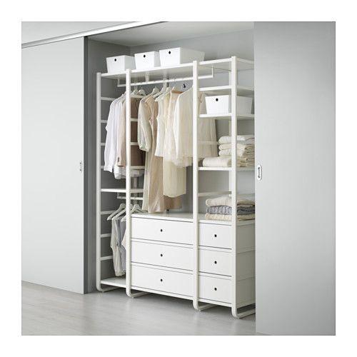 ELVARLI 3 sections, white Clothes rail, Storage and Storage shelves - küchenschrank mit schubladen
