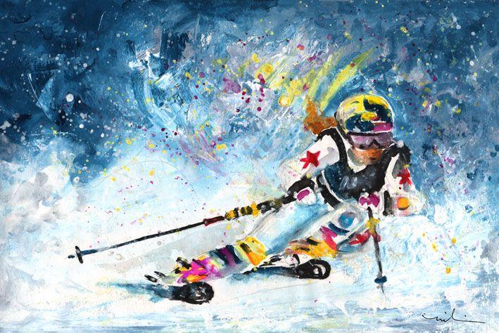 Sports D Hiver En Peinture Par L Artiste Francaise Miki De Goodaboom Dessin Ski Sport D Hiver Art Du Sport