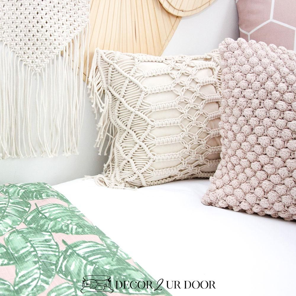 Natural Macrame Fringe Square Pillow Cover in 2020 | Pillows
