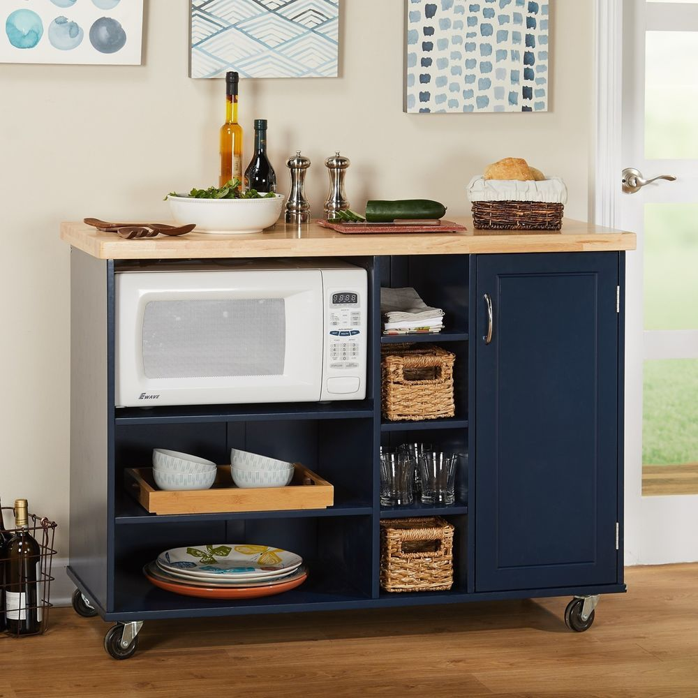Rolling Microwave Cart Kitchen Home Storage Large Open Shelf Cabinet Wood Navy Simple Kitchen Furniture Small Kitchen Microwave Cart