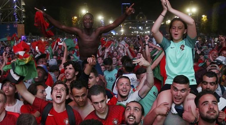 Brilliant view of Portuguese fans Portugal vs spain