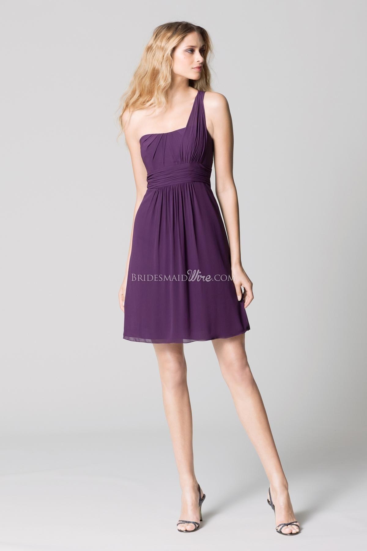 plum crinkle chiffon one-shoulder draped knee length bridesmaid dress