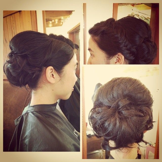 Bridal updo with a fishtail braid