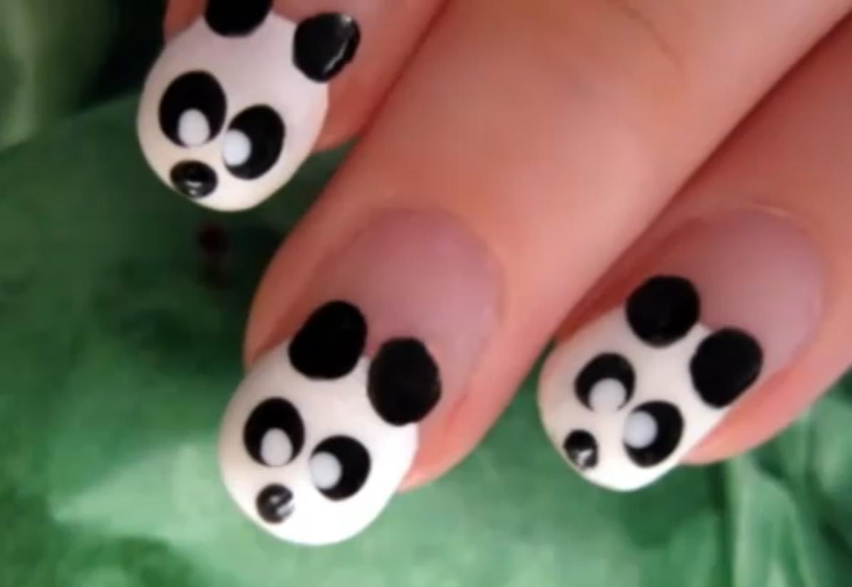 Make Panda Nail Art | Panda nail art, Panda and Round nails
