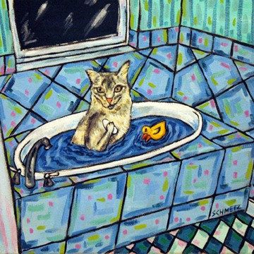 siamese cat doing needlepoint art tile coaster gift